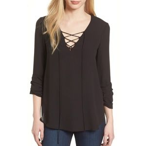 Bailey 44 Black Ramen Lace-Up Front Blouse